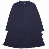 Matière: Crépon Robe longue à volants Col chemise Ouverture