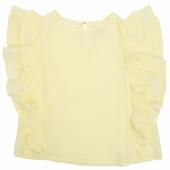 Matière: Crépon Top à volants Disponible en coloris jaune,