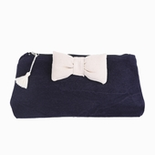 Material : canvas Navy pencil case White butterfly knot