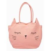 Sac canvas chat Broderie tête de chat, 1 poche à l'intérieur
