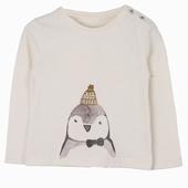 Material : cotton Long sleeves t-shirt in ecru Penguin print