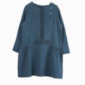 Matière : coton Robe manches longues en coton double face