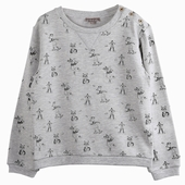 Matière : coton Sweatshirt gris chiné Imprimé exclusif