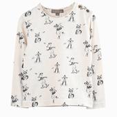 Matière : coton T-shirt écru à manches longues Imprimé