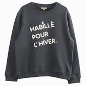 Matière : coton Sweatshirt bitume Broderie bouclette