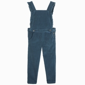 Material : velvet Velvet dungaree with frills and large bib
