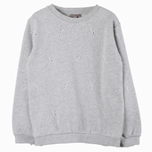 Material : cotton Mottled grey sweat shirt English