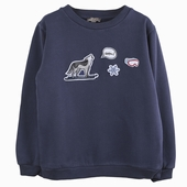 Material : cotton Navy sweatshirt with badges Badges ski