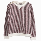 Material : cotton Striped sweatshirt Available in brick and