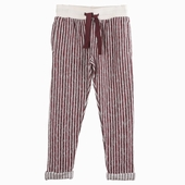 Material : cotton fleece Striped trousers Available in brick