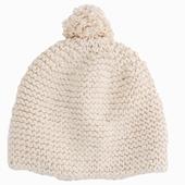 Matière : laine de mérinos Bonnet tricoté main Pompon sur le