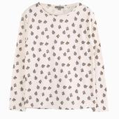 Matière : coton T-shirt écru à manches longues Imprimés