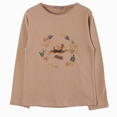 Material : cotton Long sleeves t-shirt in nougat Deer