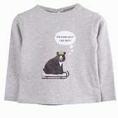 Material : cotton Long sleeves t-shirt in mottled grey Teddy