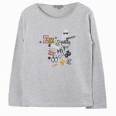Matière : coton T-shirt gris chiné à manches longues Imprimé