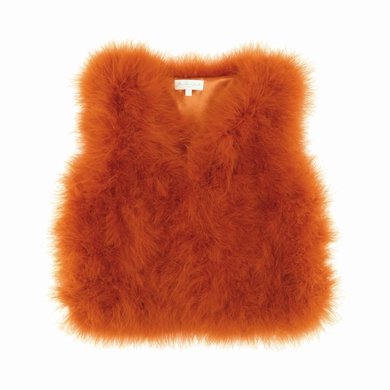 gilet fourrure orange fille