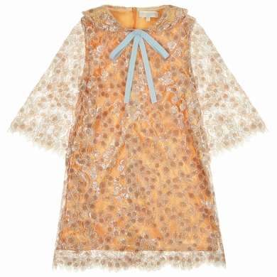 robe dentelle  orange fille
