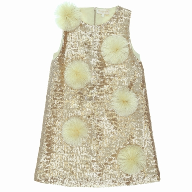 robe tulle sequins gold fille