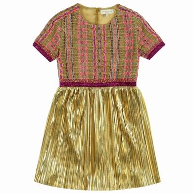 robe tweed plisse gold fille