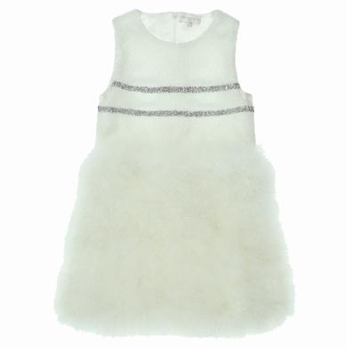 robe tulle plumes  white fille