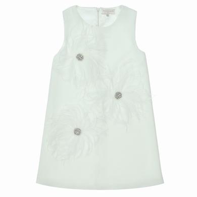 robe plumes white fille