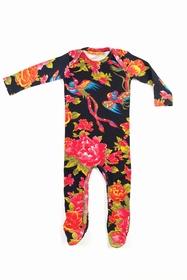 Pyjama à manches longues en coton imprimé. Boutons pressions