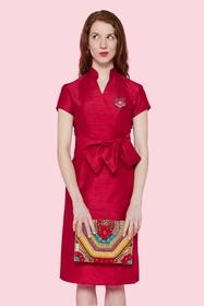 Elégante robe cache-coeur en soie sauvage d'Inde, col mao et