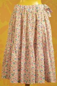 Jupon fleuri. fermeture zip. doublé d'un jupon en coton