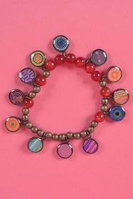 zama bracelet. resin beads. brass.