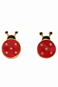 hand enamelled lady bird earrings.
