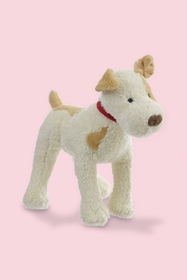 Eliot, the plush dog is to be crunchy! He has a small red