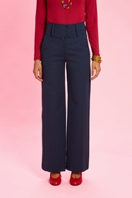 Pantalon large. taille haute , ceinture hauteur 9 cms fermée