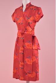 Robe portefeuille cache coeur col à la chinoise, en soie