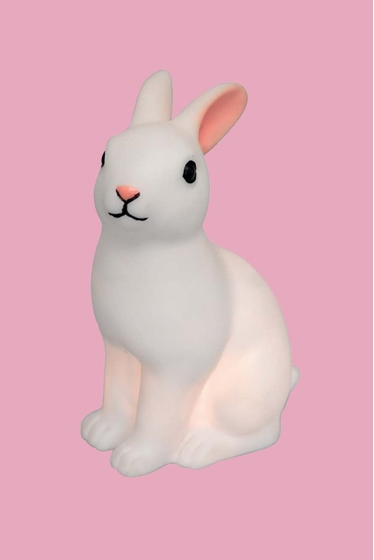 White rabbit shaped LED night light with on/off switch. <br>