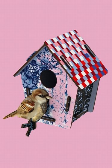 A poetic and fanciful bird cabin to decorate your walls.