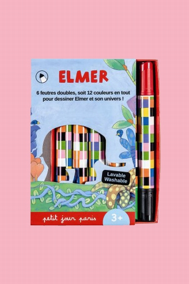 Box of 6 double tip markers, 12 colors in all, to draw Elmer