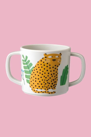 Animal pattern mug with two handles. Size: 12 x 7cm.