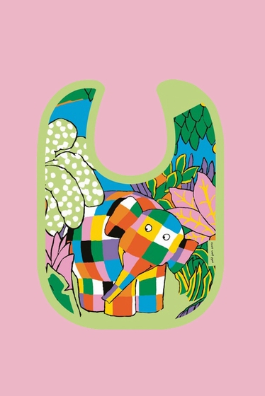 Mini bavoir ELMER pour enfants en toile cirée. Taille : 21 x