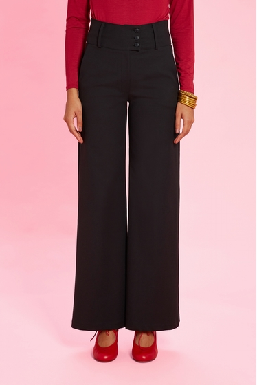 Elegant high waist flare trousers. Button fastening and 2