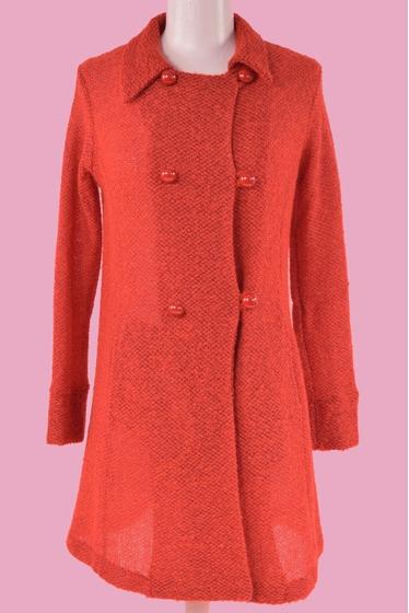 Joli manteau en laine et en mohair. Col libre et manches