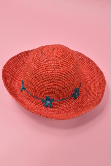 Chapeau d'été en raffia avec liseré de fleurs. Existe en 4