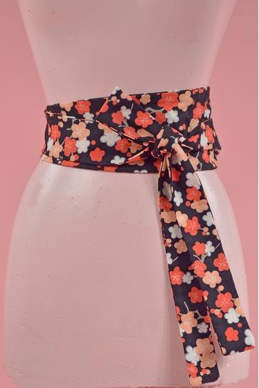 Ceinture à imprimé fleurie. Tissu japonais. longueur : 212