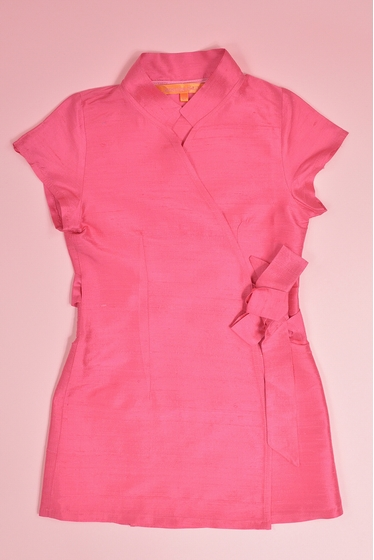 wrap over dress. pink silk. made in France