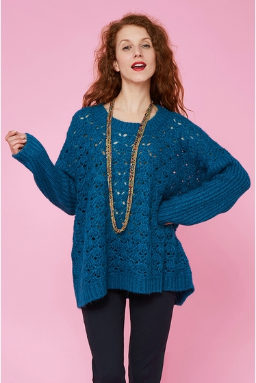 Pull en maille ajourée.<br> Col rond.<br> Manches