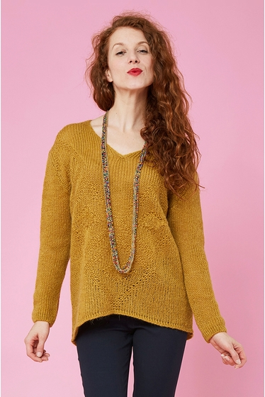 Beautiful mohair jacquard pullover. V-neck and long
