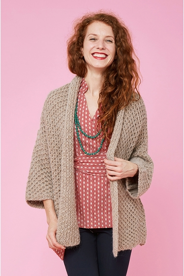Jacquard mohair knitted cardigan, kimono 3/4 sleeves.<br>