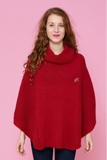 Knitted mohair poncho, deep draped collar. Wear it simply on