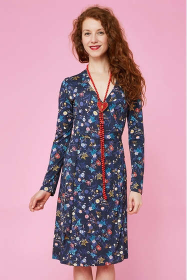 Nice crossed dress with flowers patterns, v-neck and crossed