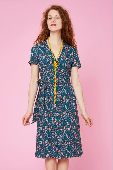 Jolie robe cache-coeur à motif cashemire, col v et fermeture