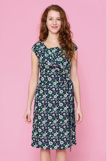 Ravissante robe cache-coeur à motifs fleuris, fermeture à la